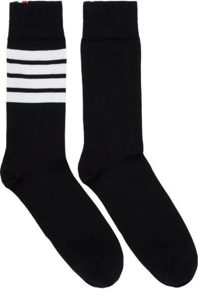 Black 4 Bar Mid Calf Socks-Thom Browne