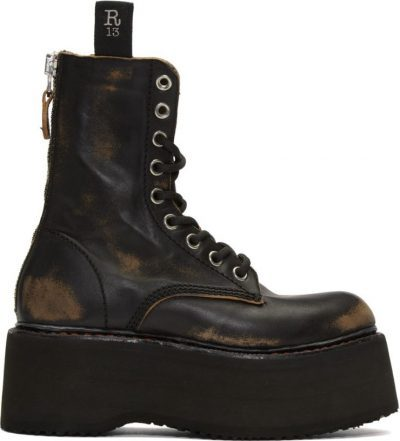 Black Double Stacked Lace-Up Boots-R13