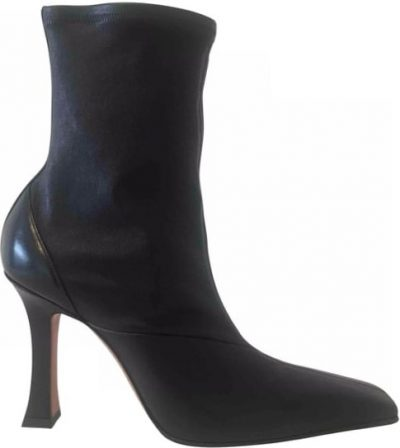 Black Madame Leather Ankle Boots