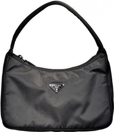 Black Mini Tessuto Hobo Bag-Prada