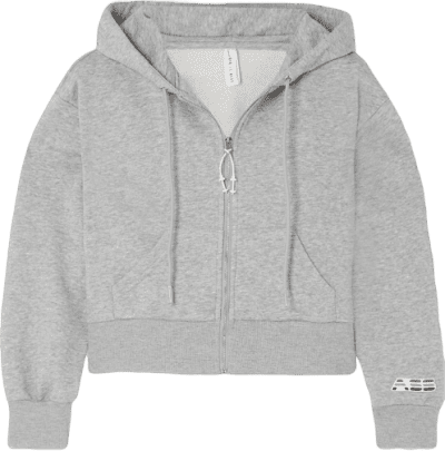 Gray Mélange Cotton-Blend Jersey Hoodie