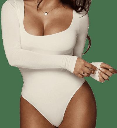 Ivory Bethie Scoop Long-Sleeve Bodysuit