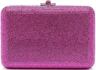 Pink Slim Slide Crystal Pavé Minaudière-Judith Leiber