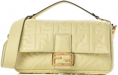 Yellow Nappa Embossed Large Baguette Bag