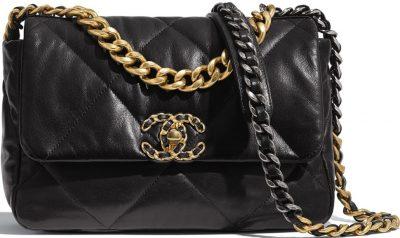 Black Lambskin Flap Bag-Chanel