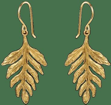 Gold Fern Drop Earrings