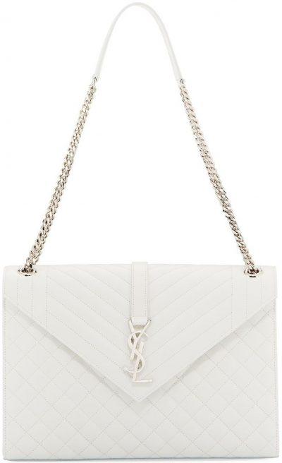 V-Flap Large Tri-Quilt Envelope Chain Shoulder Bag