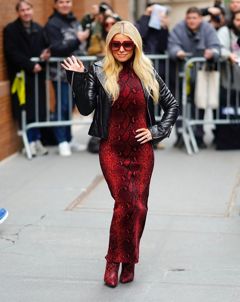 Jessica Simpson wears all red at the View Studios on February 05, 2020 in New York City.