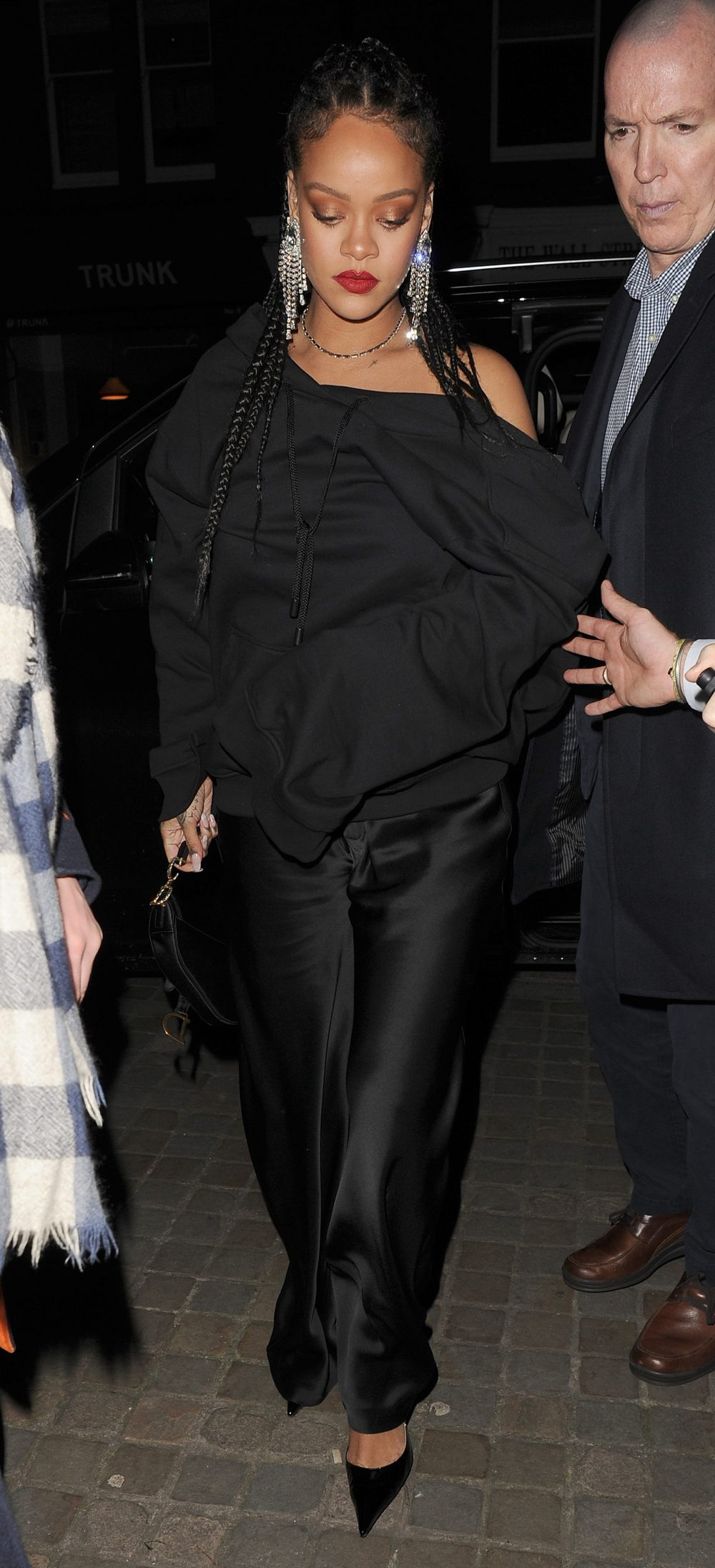 Rihanna arrives at the Chiltern Firehouse for a BAFTA afterparty at 4.30am. The singer stayed until 6.30am. Rihanna was wearing an all black outfit, plus some eye catching earrings and rings