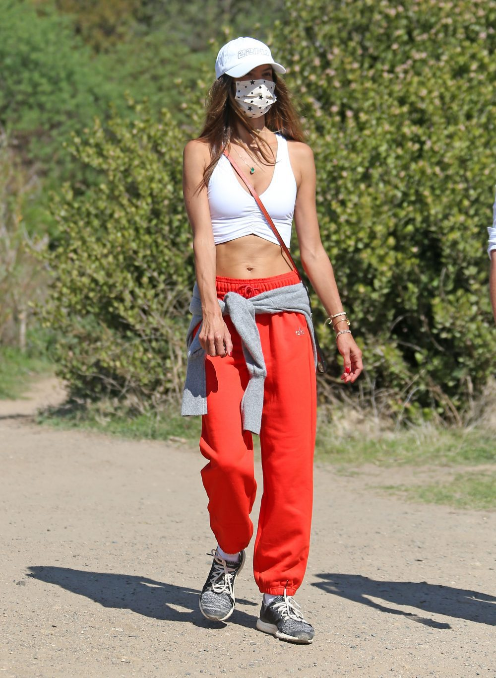 Alessandra Ambrosio out for a hike in Los Angeles with a friend