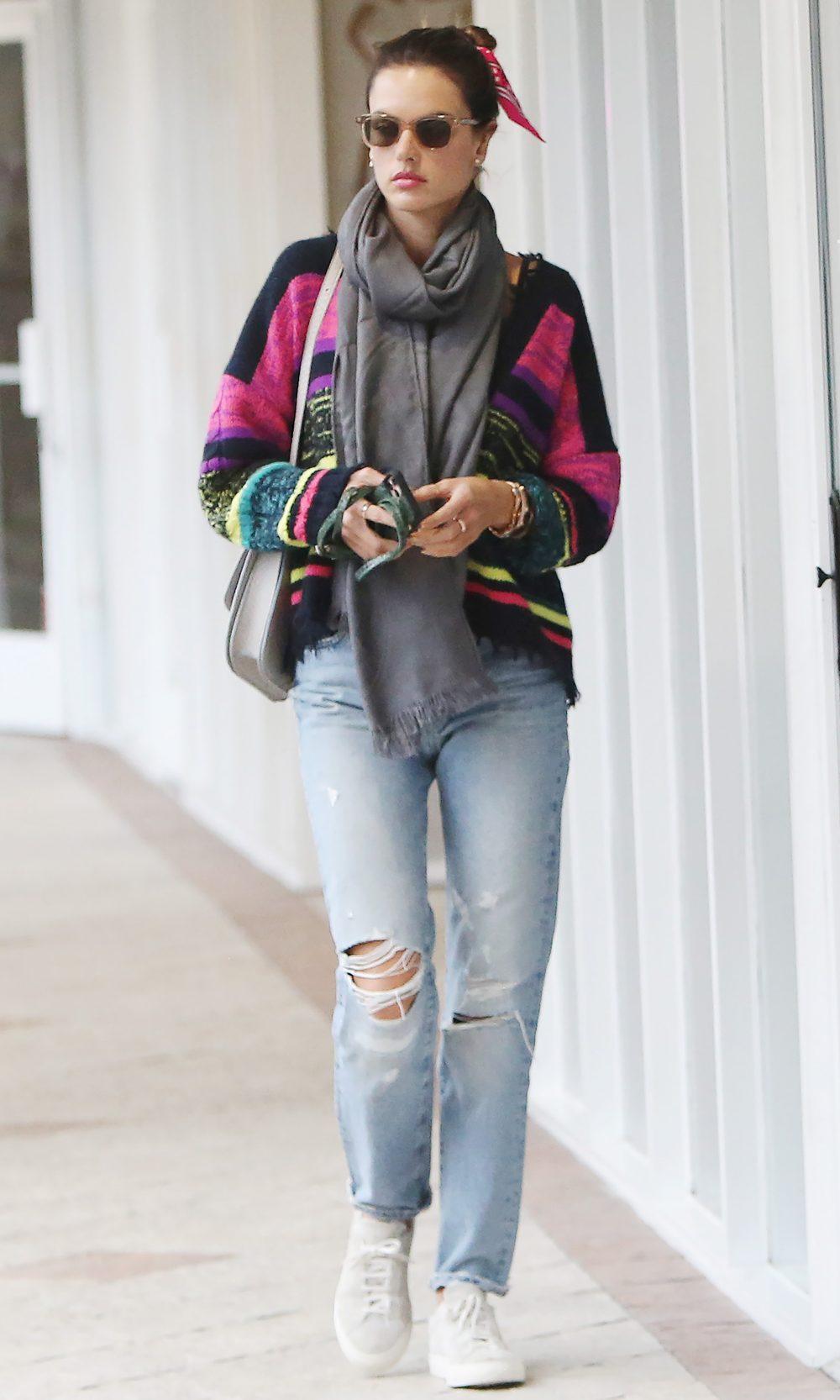 Top Model Alessandra Ambrosio braves the rain to run her errands in Santa Monica