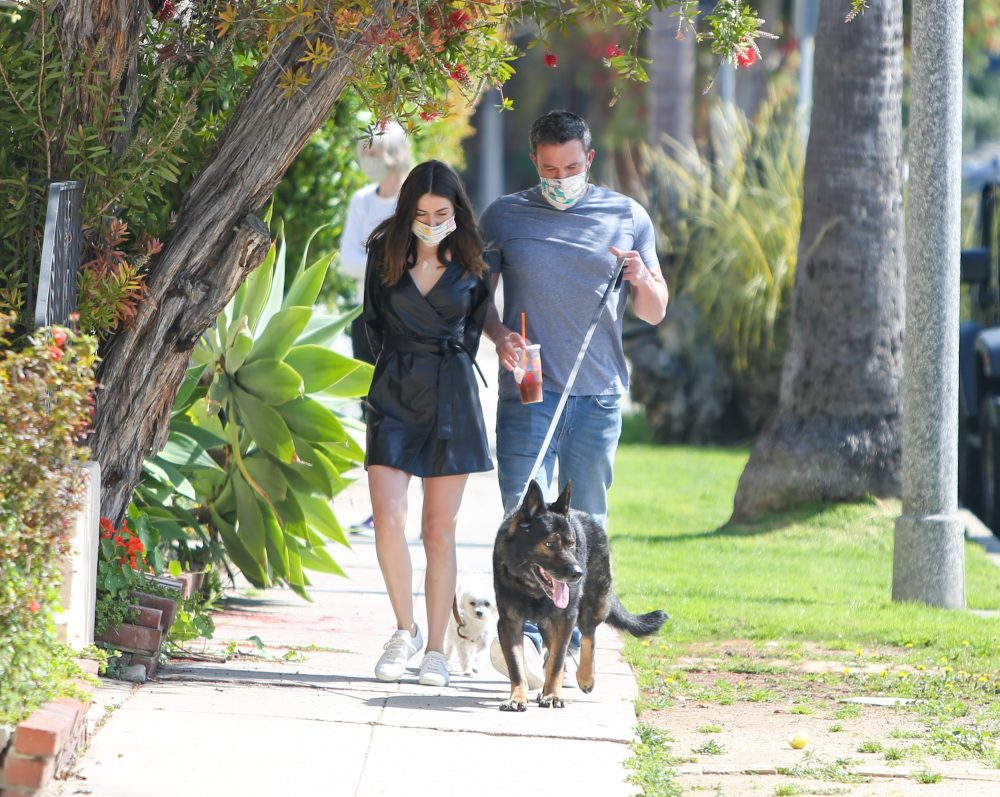Ben Affleck and Ana de Armas walk their dogs