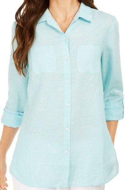 Aqua Island Linen Shirt-Charter Club