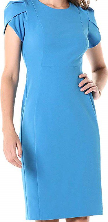 Aqua Tulip Sleeve Sheath