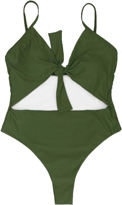 Army Green Tie Knot Front Cutout One Piece Swimsuit-LEISUP