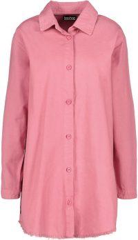 Baby Pink Fray Hem Oversized Denim Shirt Dress-Boohoo