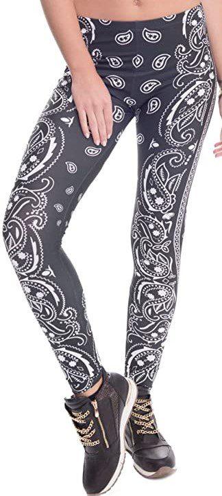 Bandana Printed Yoga Leggings-kukubird