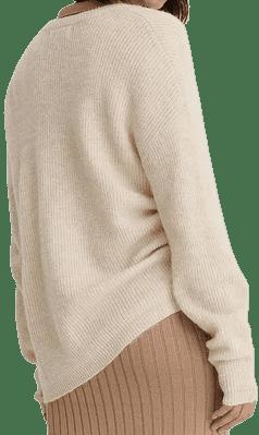 Beige Alpaca Blend V-Neck Knitted Sweater