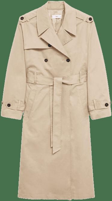 Beige Belt Cotton-Blend Trench Coat-Mango