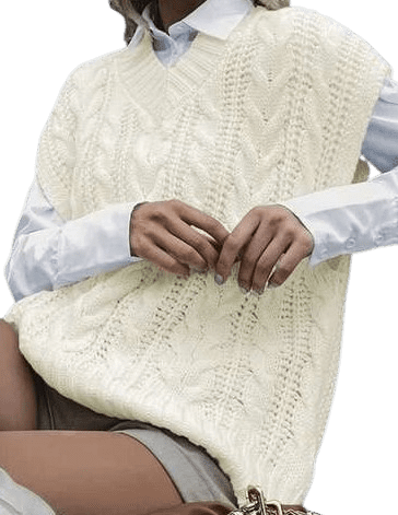 Beige Cable Knit V Neck Sweater Vest-Shein