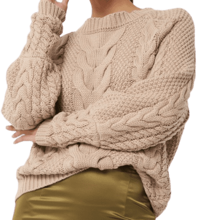 Beige Cable Knitted Ribbed Sleeve Sweater-NA-KD