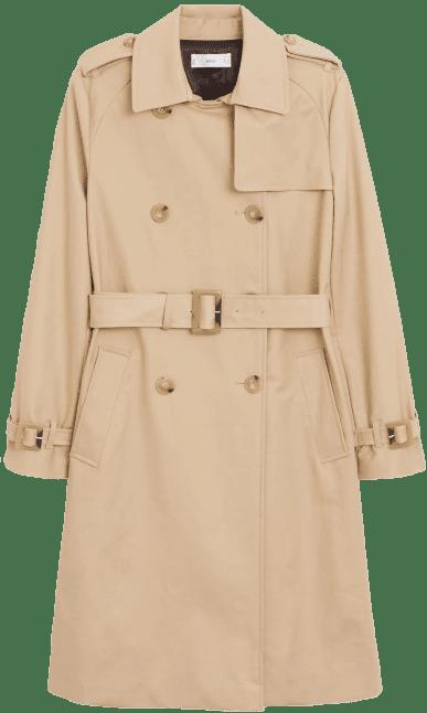 Beige Classic Cotton Trench Coat