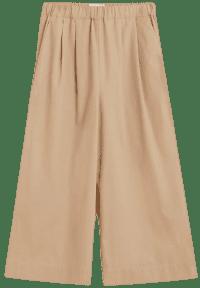 Beige Cotton Culotte Trousers-Mango