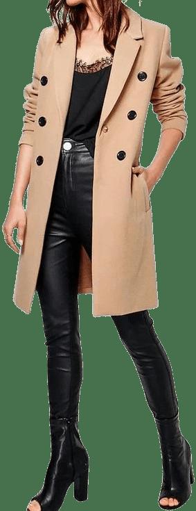 Beige Double Breasted Coat-Boohoo