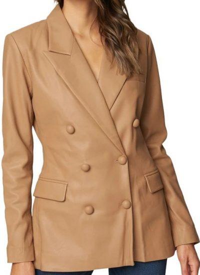 Beige Double Breasted Faux Leather Blazer Jacket-BLANKNYC
