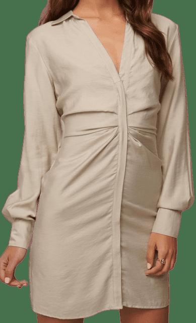 Beige Draped Shirt Dress-Donnaromina X NA-KD