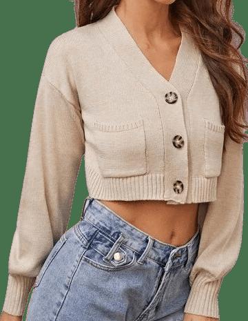 Beige Drop Shoulder Cardigan-Shein