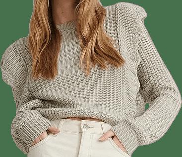 Beige Flounce Long-Sleeve Knitted Sweater