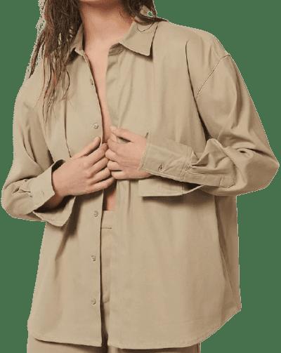 Beige Heavy Cotton Shirt-NA-KD