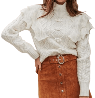 Beige High Neck Ruffle Cable Knit Jumper-Shein
