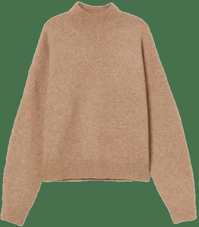 Beige Knit Mock-Turtleneck Sweater-H&M