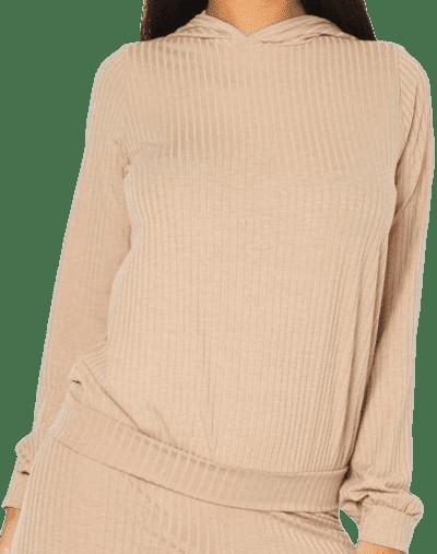 Beige Knitted Soft Rib Hoodie