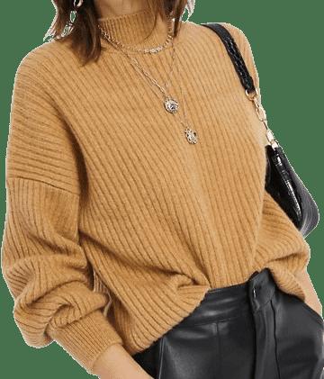 Beige Ribbed Sweater With Volume Sleeves-Stradivarius