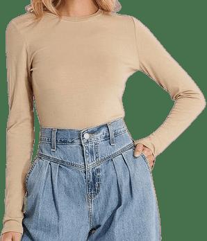Beige Roundneck Longsleeve Basic Sweater-NA-KD