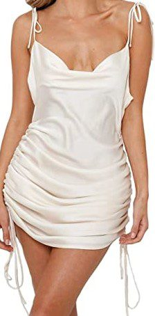Beige Ruched Camisole Dresses-Gmeitoey