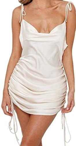 Beige Satin String Mini Dress