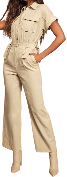 Beige Spread The Word Button-Front Utility Jumpsuit