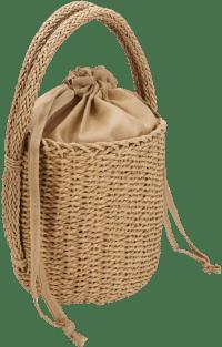 Beige Straw Bucket Bag Sincerely-ALC