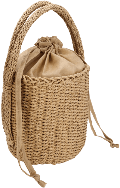Beige Straw Bucket Bag Sincerely-ALC