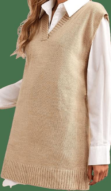 Beige V Neck Jumper Vest Dress-Shein