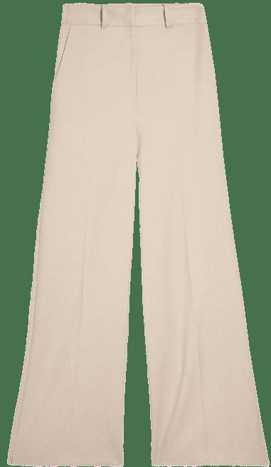 Beige Wide-Leg Trousers