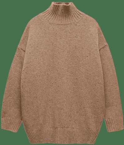 Beige Wool Blend Knit Sweater