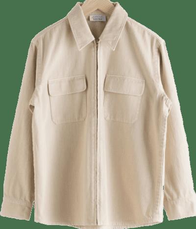 Beige Woven Cotton Zip-Up Overshirt