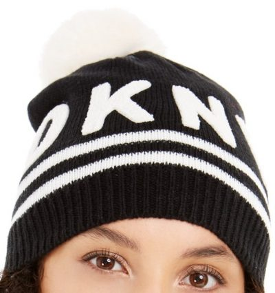 Black And White Varsity Letter Beanie with Pom-DKNY