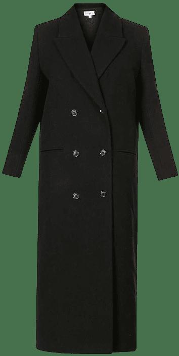Black Aquarius Double-Breasted Wool-Blend Coat