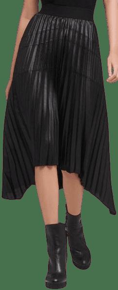 Black Asymmetrical Pleated Skirt-DKNY